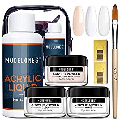 Acrylic-Powder-and-Liquid-Set-Modelones-Acrylic-Nail-Starter-Kit-with-Professional-Acrylic-Nail-Brush-Liquid-Monomer-No-Need-Nail-Lamp 10 Best Acrylic Nail Kits for Beginners and Pros for Ultra-Amazing Manicures