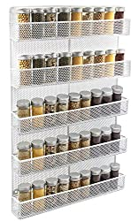 TQVAI-5-Tier-Wall-Mount-Spice-Rack-Organizer-Kitchen-Spice-Storage-Shelf-Made-of-Sturdy-Punching-Net-White Organize your Kitchen like a Legend with these Best Spice Racks Now!